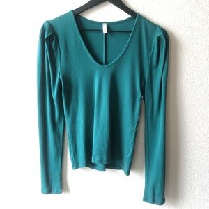 Free People Intimately Turquoise Long Sleeve Top